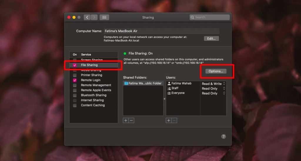 Как включить общий доступ к файлам в macOS