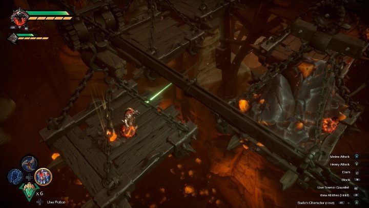 Bomb Growths is behind the two platforms moving across the location - How to break the wall Chapter 14 in Darksiders Genesis? - Puzzles - Darksiders Genesis Guide