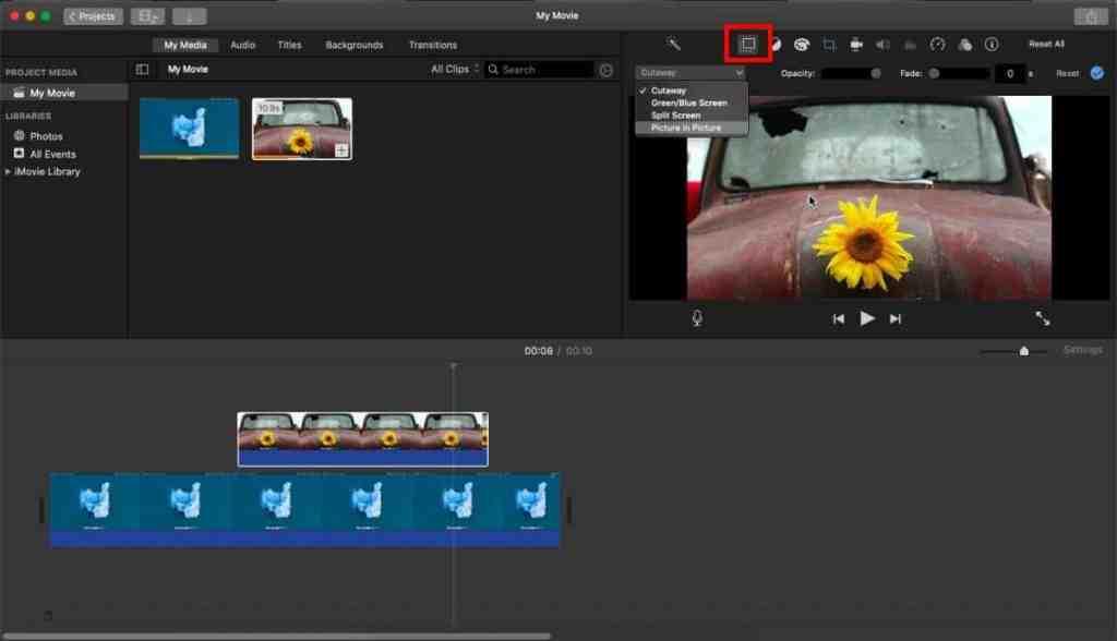 Как создать видео в формате картинка в картинке в iMovie на macOS