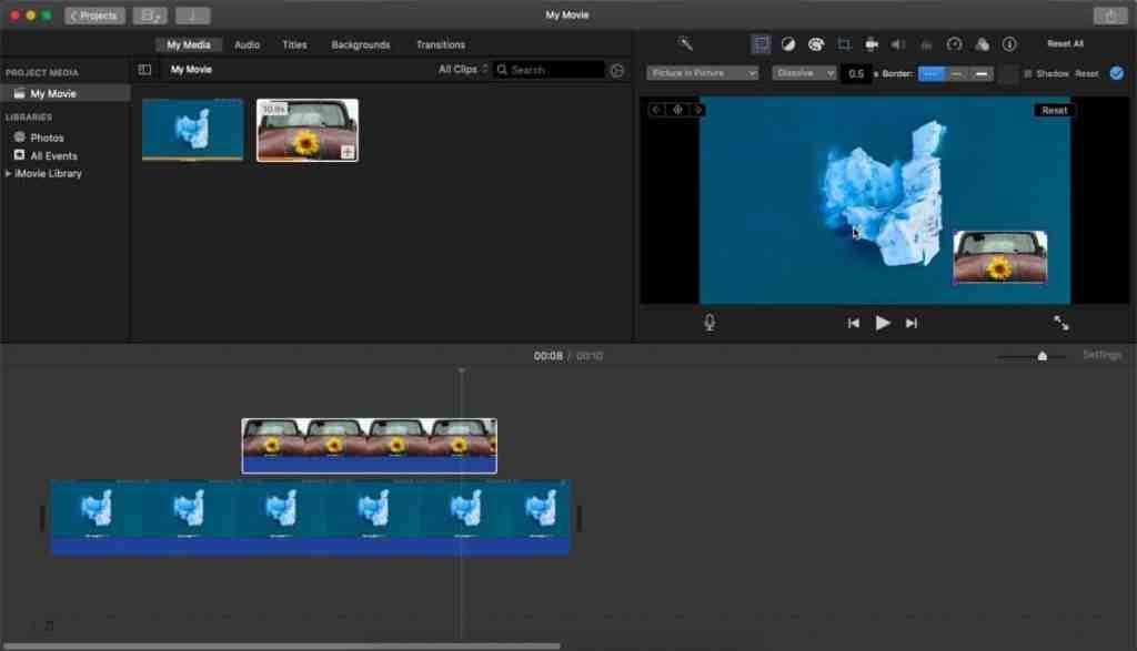 Ваше видео теперь готово, и вы можете сохранить его как файл MP4. Чтобы сохранить видео в формате MP4, перейдите в меню «Файл»> «Совместное использование» и выберите «Файл». Выберите место, куда вы хотите сохранить файл, и дайте ему любое имя. При воспроизведении видео изображение «картинка в картинке» будет отображаться там, где вы его разместили в своем проекте.