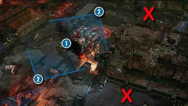 Постарайтесь держать Брумака в центре карты ( 1 ), а ваших солдат - на противоположных сторонах ( 2 ). Не ставьте своих людей в узкие концы карты ( красные символы «X» ). Вашим солдатам будет трудно держать дистанцию.