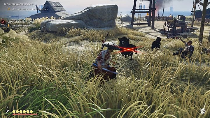 In addition to humans, you will also have to kill guard dogs and bears - Ghost of Tsushima: Direct combat - Samurai style - Basics - Ghost of Tsushima Guide