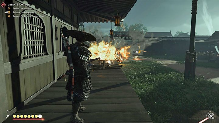 Jin also has various gadgets to help him fight at a distance - Ghost of Tsushima: Direct combat - Samurai style - Basics - Ghost of Tsushima Guide
