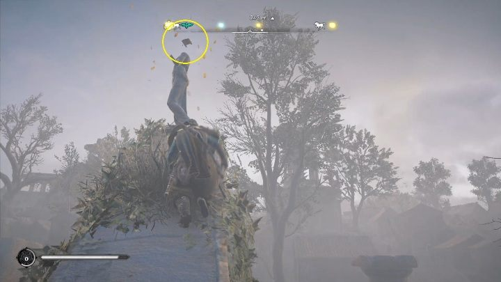 End: it will stop over the statue, located on destroyed stone elements - Assassins Creed Valhalla: Wind-bearing card - Lunden, Secrets, Locations - Lunden - Assassins Creed Valhalla Guide
