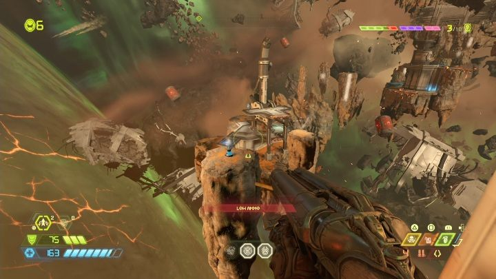 You have to jump onto a few levitating rocks to get to this sentinel battery - Doom Eternal: Mars Core secrets maps and location - Collectibles and secrets - Doom Eternal Guide
