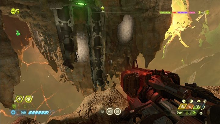 Once you crossed through the levitating rocks, you will reach a stable platform - Doom Eternal: Mars Core secrets maps and location - Collectibles and secrets - Doom Eternal Guide